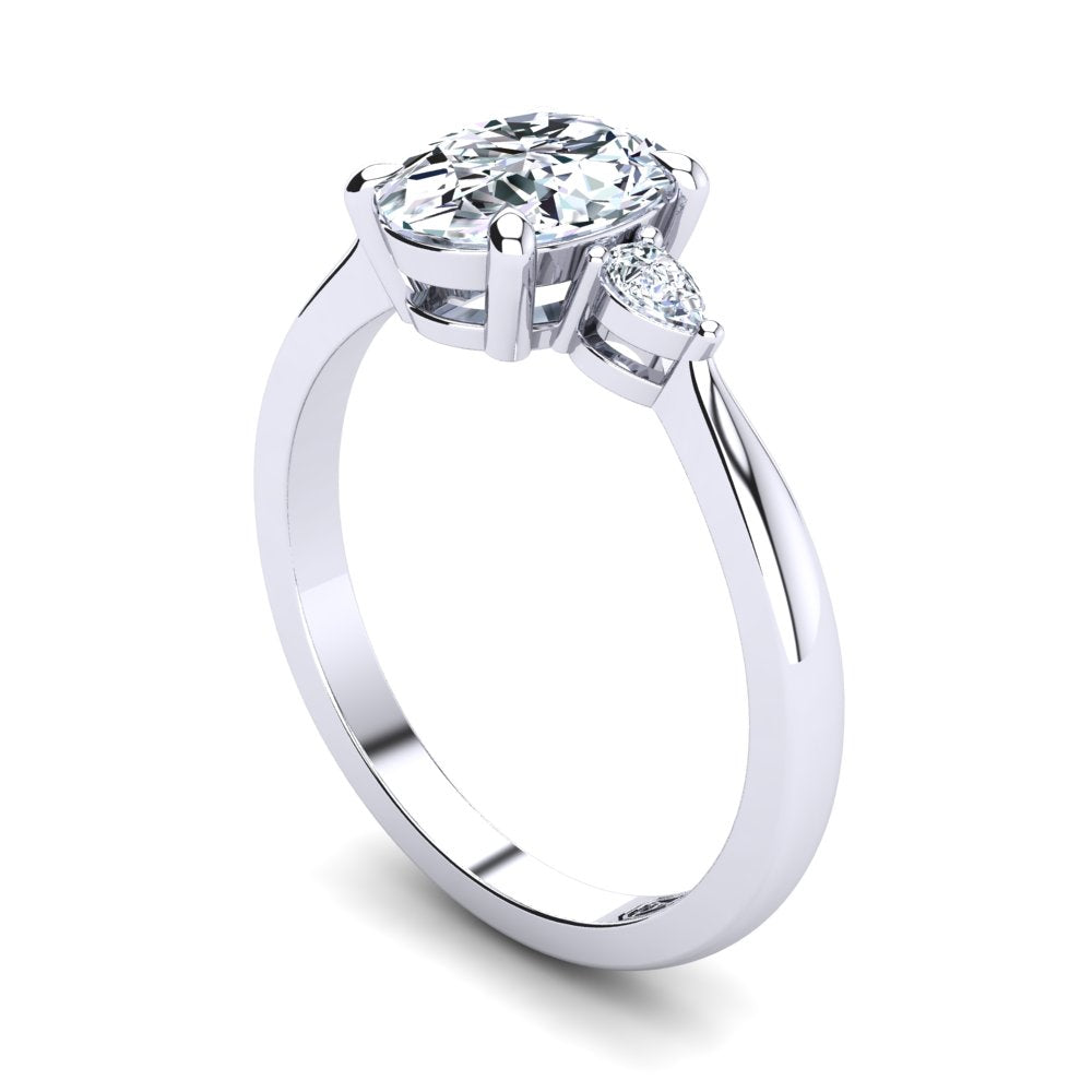 Platinum, 4 Claw Solitaire Setting with Pear Accent Stones
