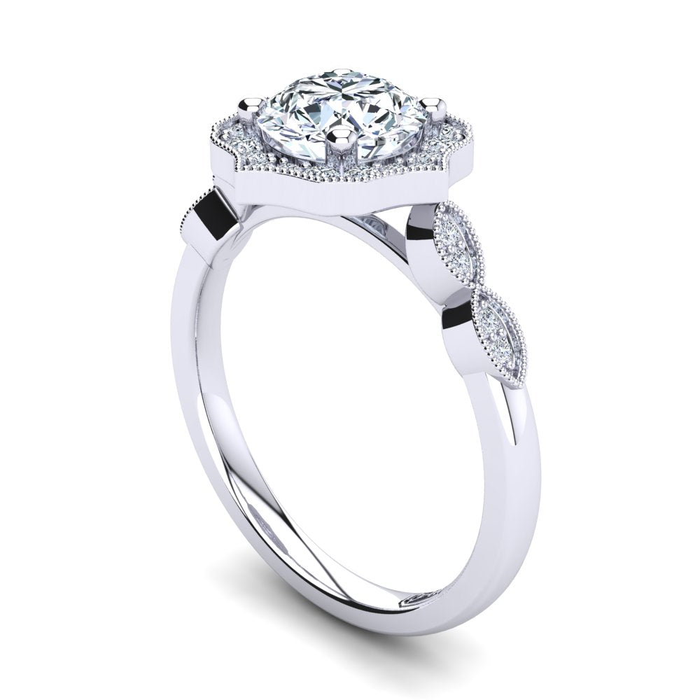 'Eva' Round Brilliant Cut Engagement Ring