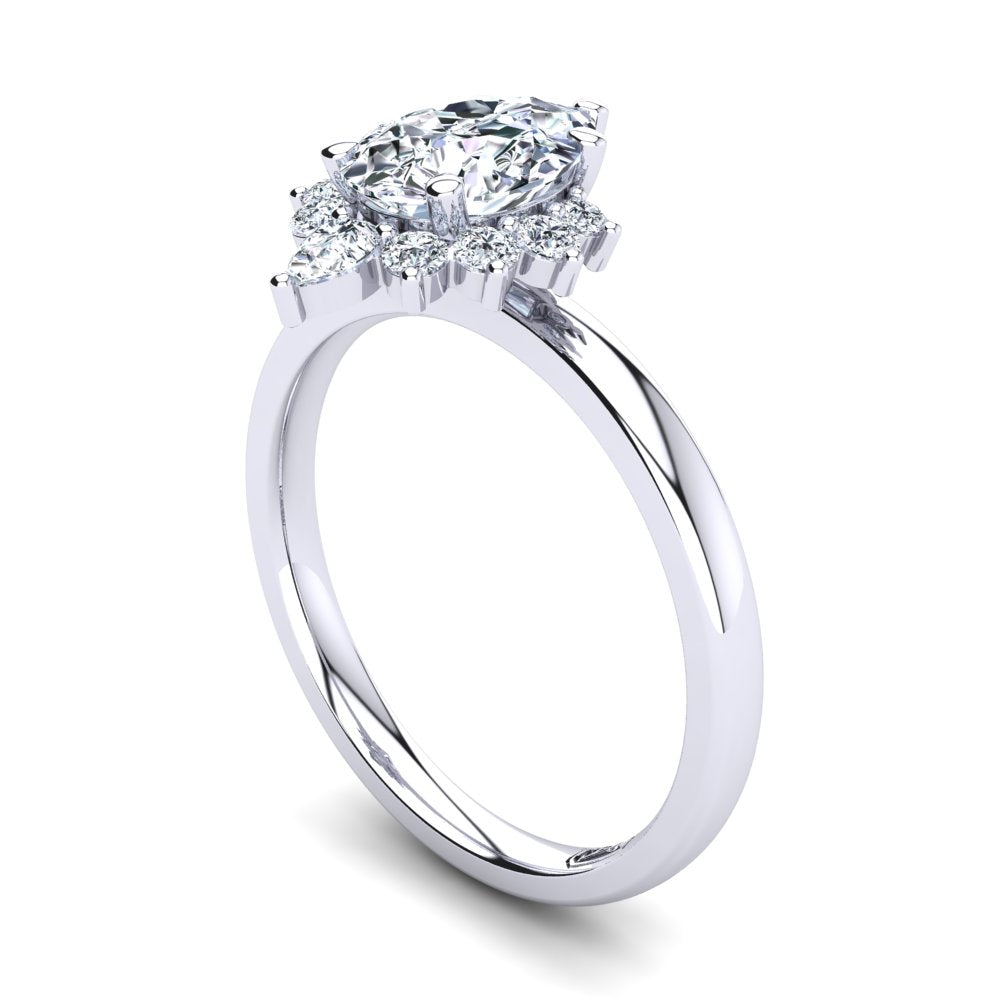 Platinum Solitaire Setting with Half Halo
