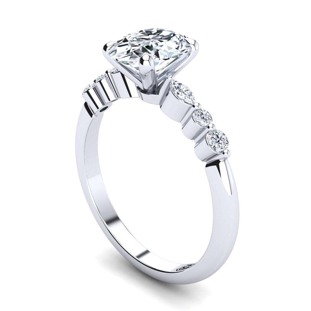 Platinum, 4 Claw Solitaire Setting with Accent Stones