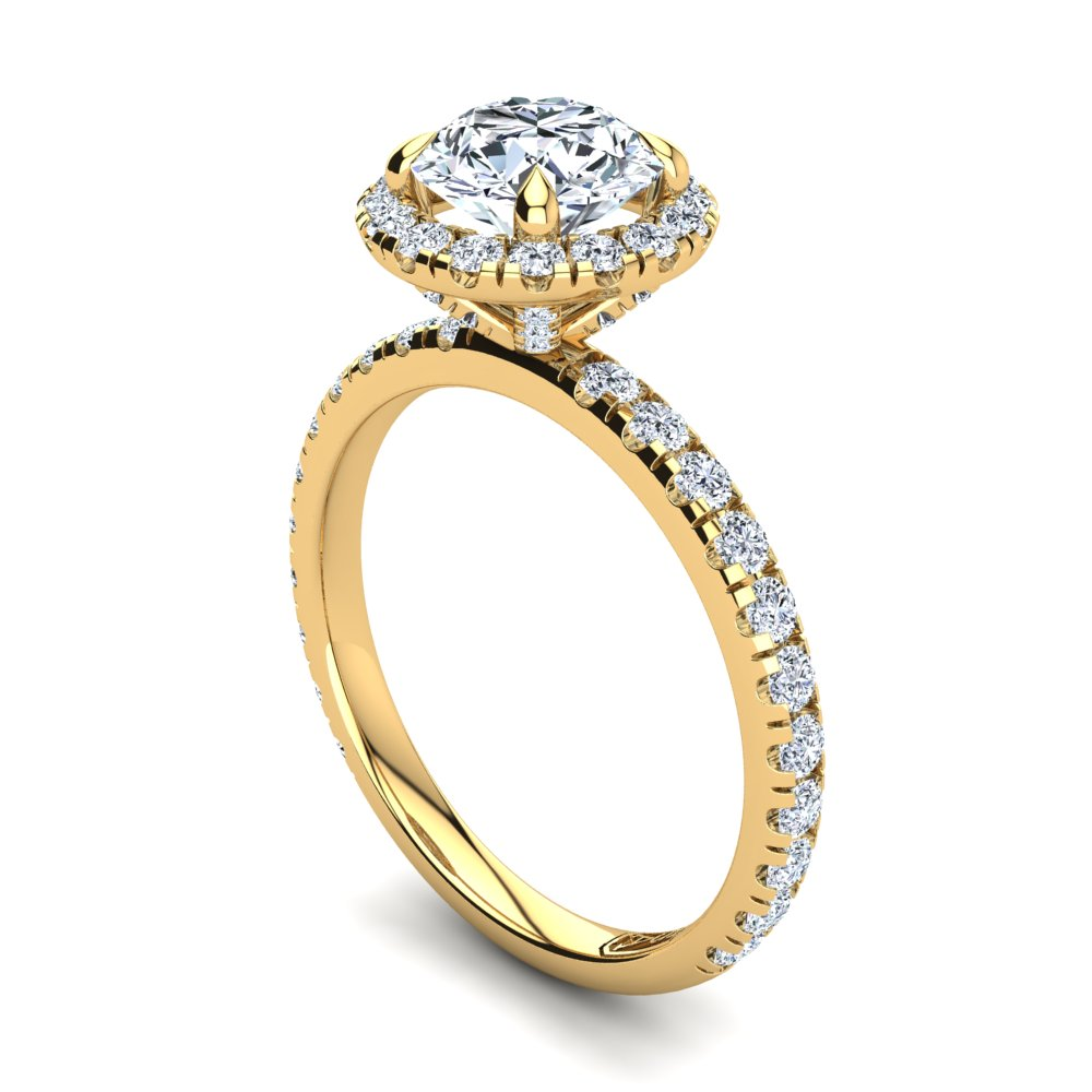 18kt Yellow Gold Solitaire 4 Claw Setting with Raised Halo and Accent Stones