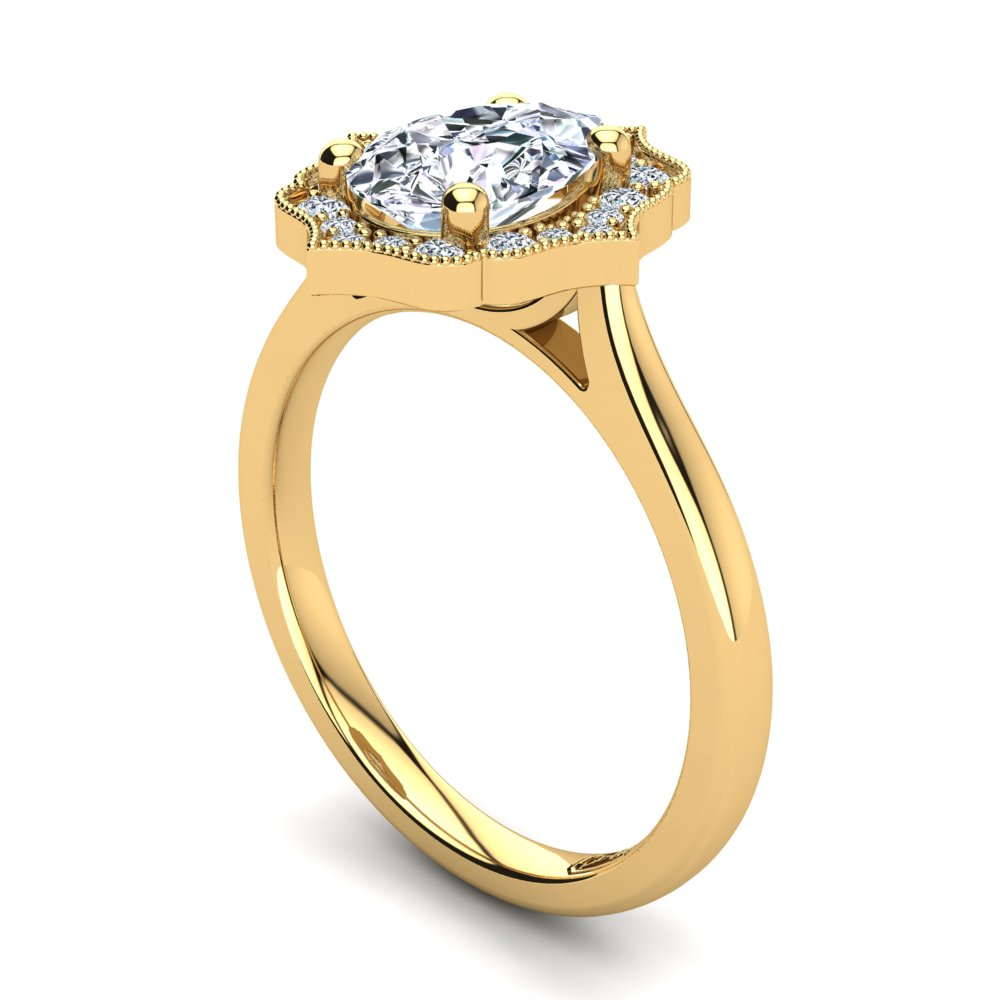18kt Yellow Gold Vintage Solitaire Setting with Halo