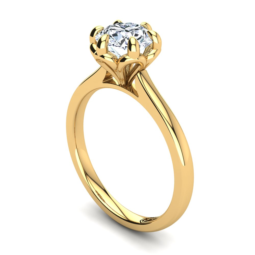 18kt Yellow Gold Solitaire With Petal Setting