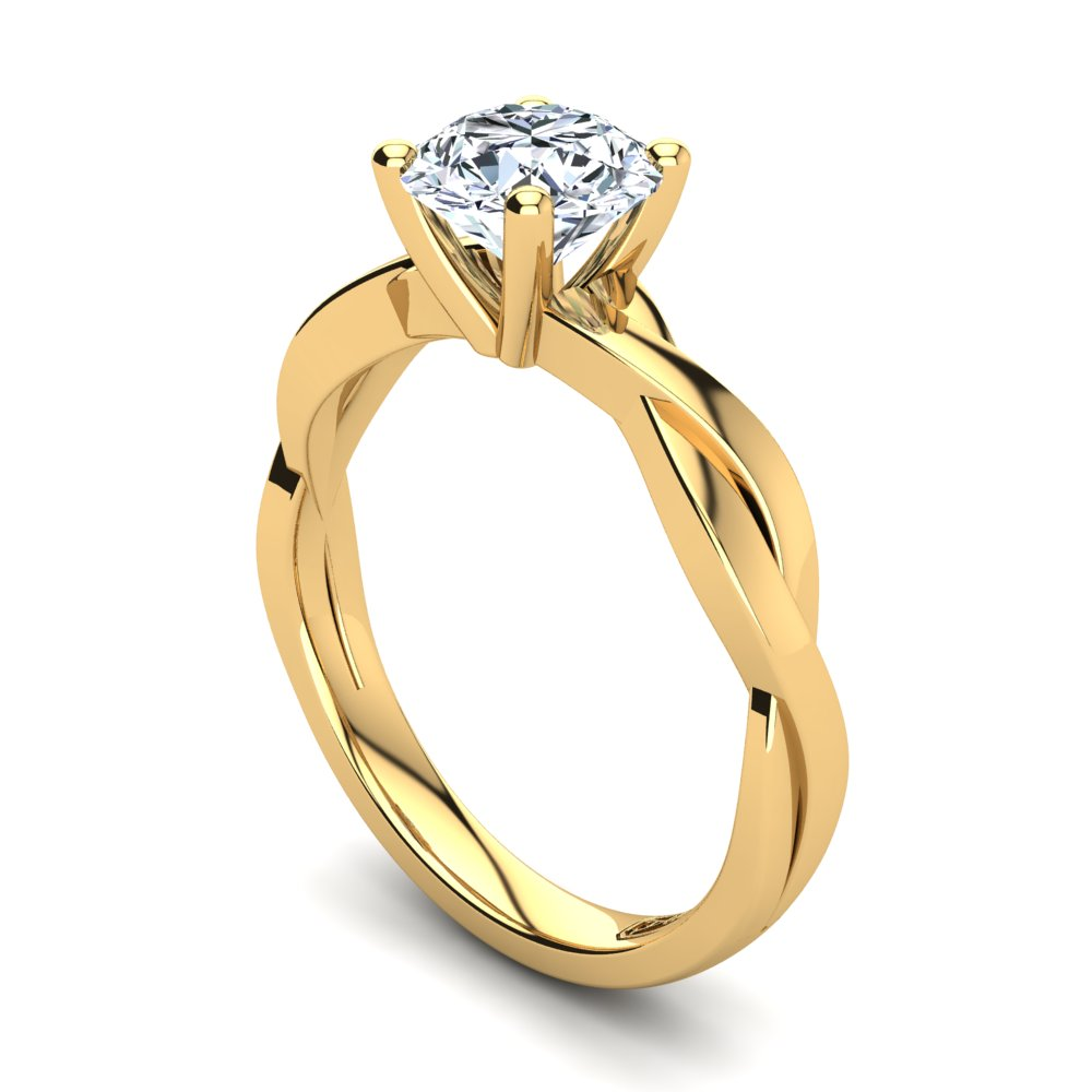 18kt Yellow Gold Solitaire 4 Claw Setting with Twist Band