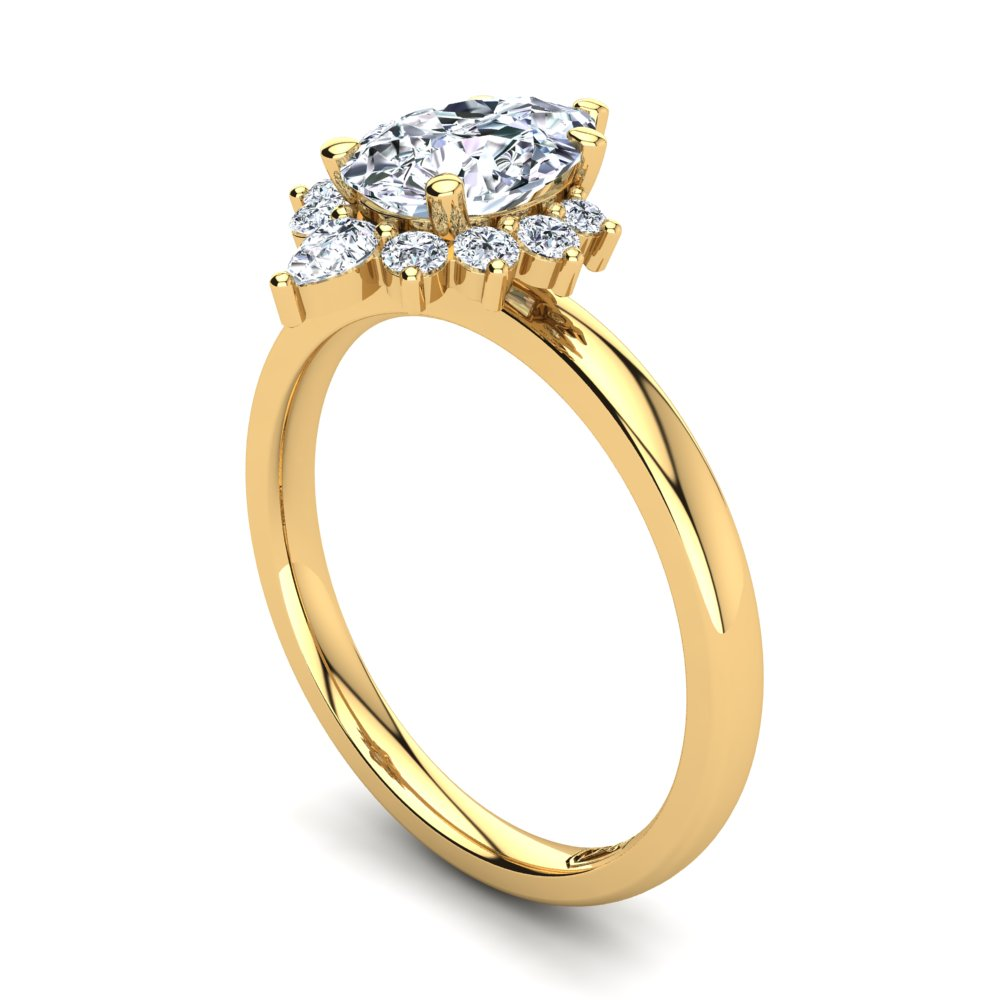 18kt Yellow Gold Solitaire Setting with Half Halo