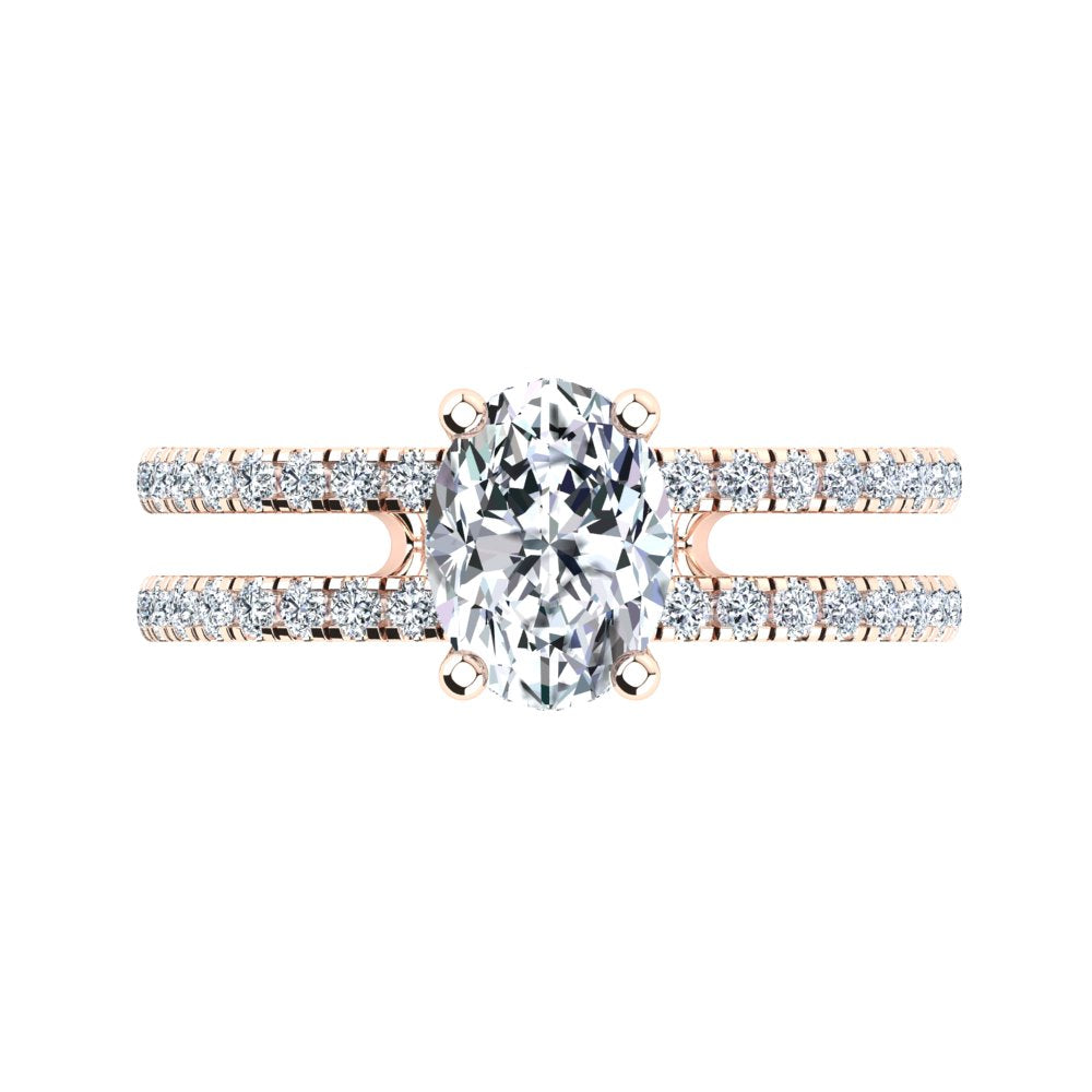 18kt Rose Gold, Solitaire Hidden Halo Setting, Dual Band with Scallop Setting Accent Stones