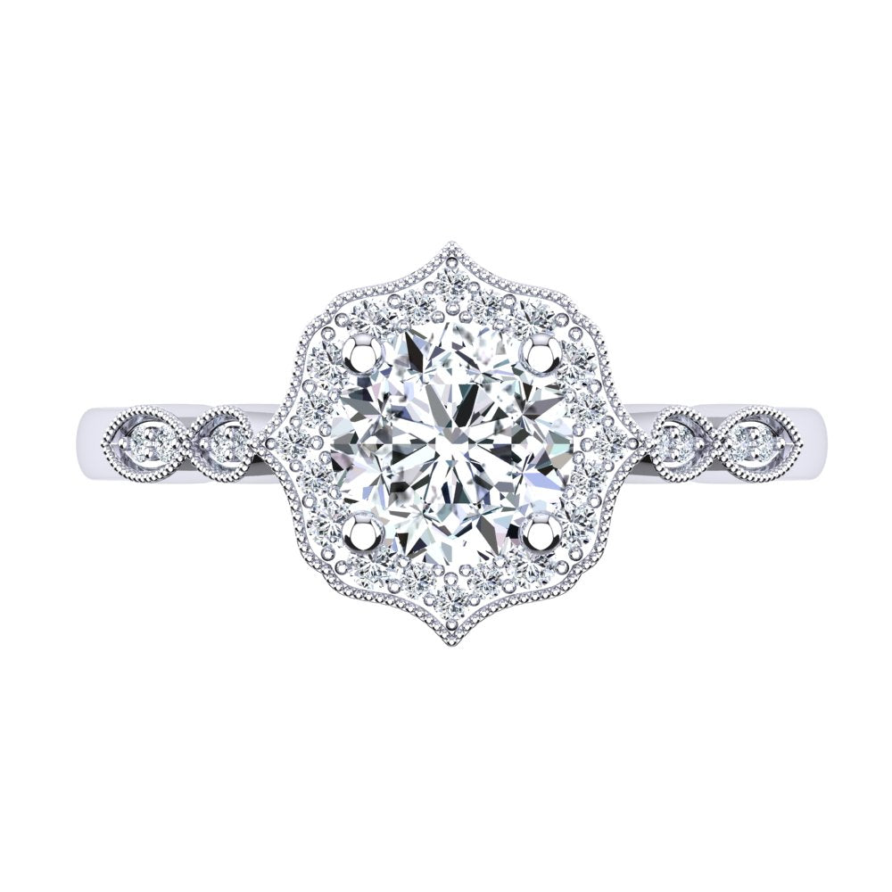 18kt White Gold Vintage Solitaire Setting with Halo and Accent Stones