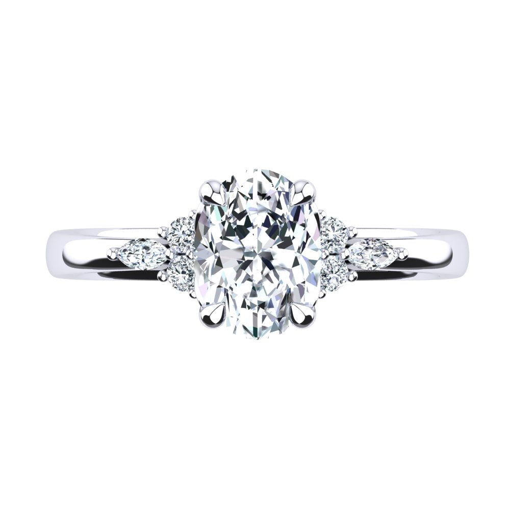 'Alex' Oval Cut Engagement Ring