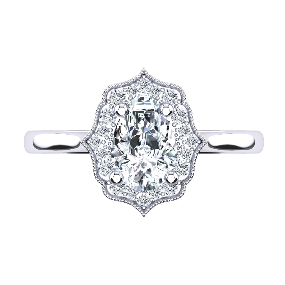 Platinum Vintage Solitaire Setting with Halo