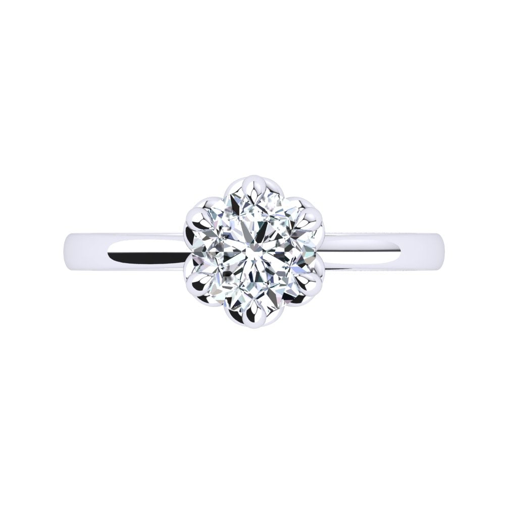 Platinum Solitaire With Petal Setting