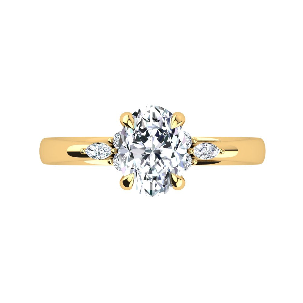 18kt Yellow Gold, 4 Claw Solitaire Setting with Cluster RBC and Marquise Accent Stones