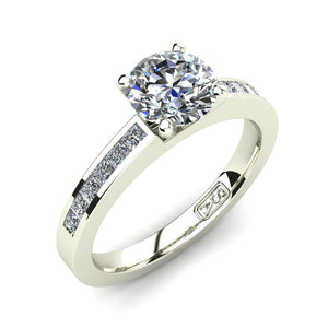 18kt White Gold, Solitaire Setting with Channel set Accent Stones