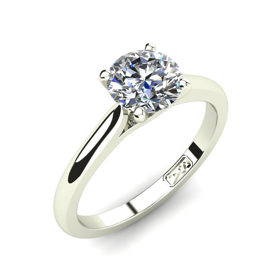18kt White Gold, Solitaire Setting with Cathedral Band