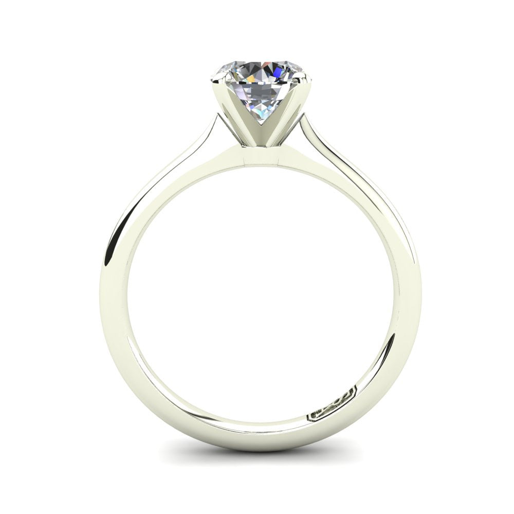 18kt White Gold, Solitaire Setting with Rounded Band