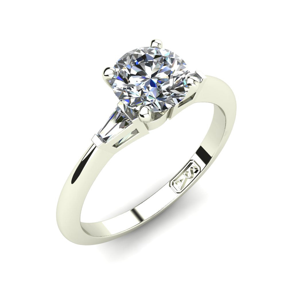 Platinum, Solitaire Setting with Baguette Accent Stones