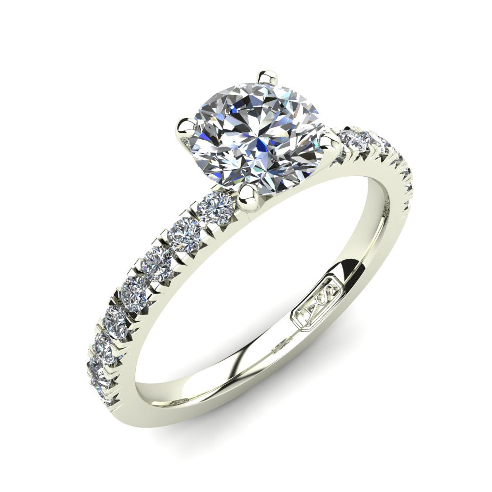 18kt White Gold, Solitaire Setting with Claw set Accent Stones