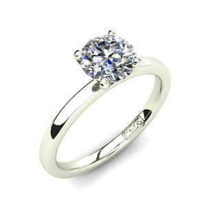18kt White Gold, Solitaire Setting with Flat Round Band