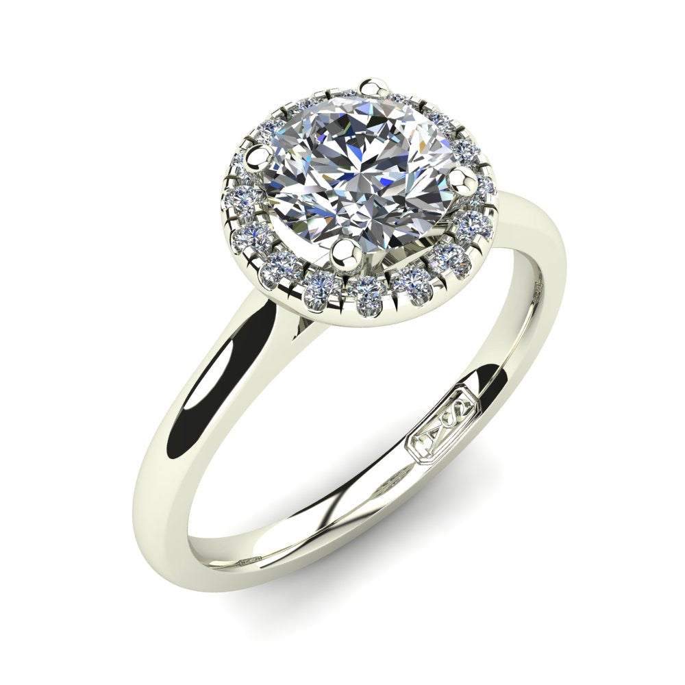 Platinum, Halo Setting with Half Round Band