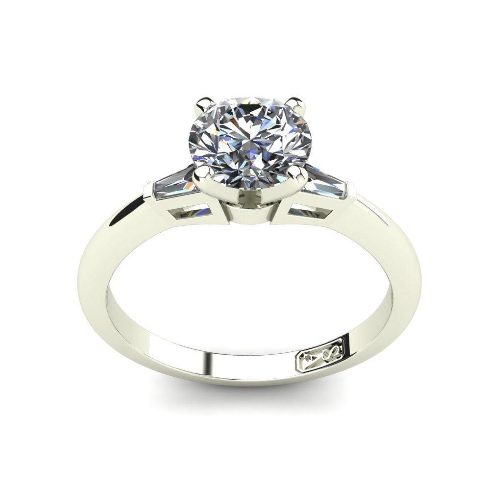 18kt White Gold, Solitaire Setting with Baguette Accent Stones