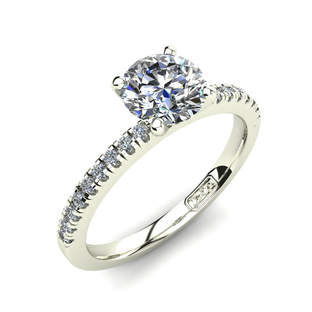 18kt White Gold, Solitaire Setting with Pavé set Accent Stones