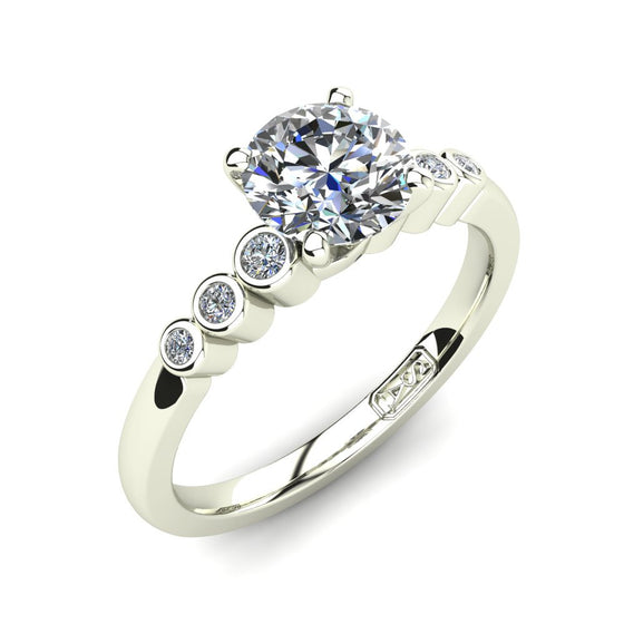 Platinum, Solitaire Setting with Bezel set Accent Stones