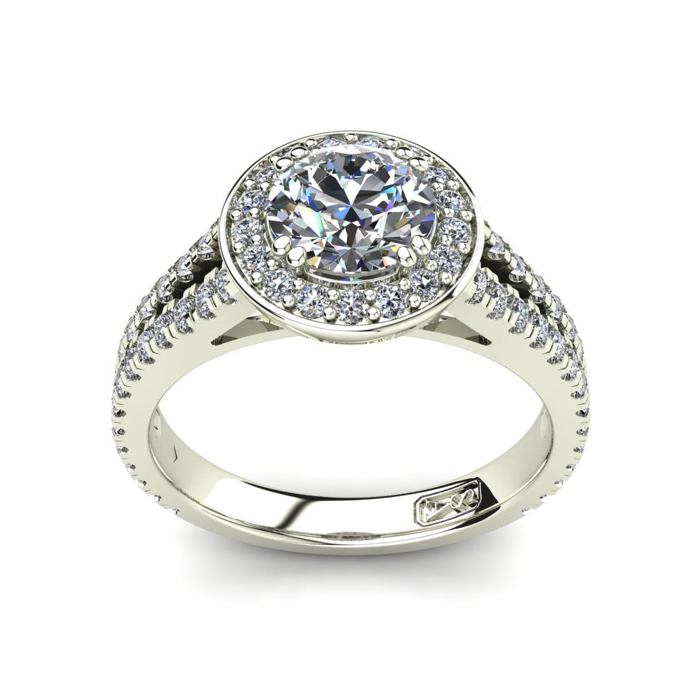 Platinum, Halo Setting with Split Accent Stone Band