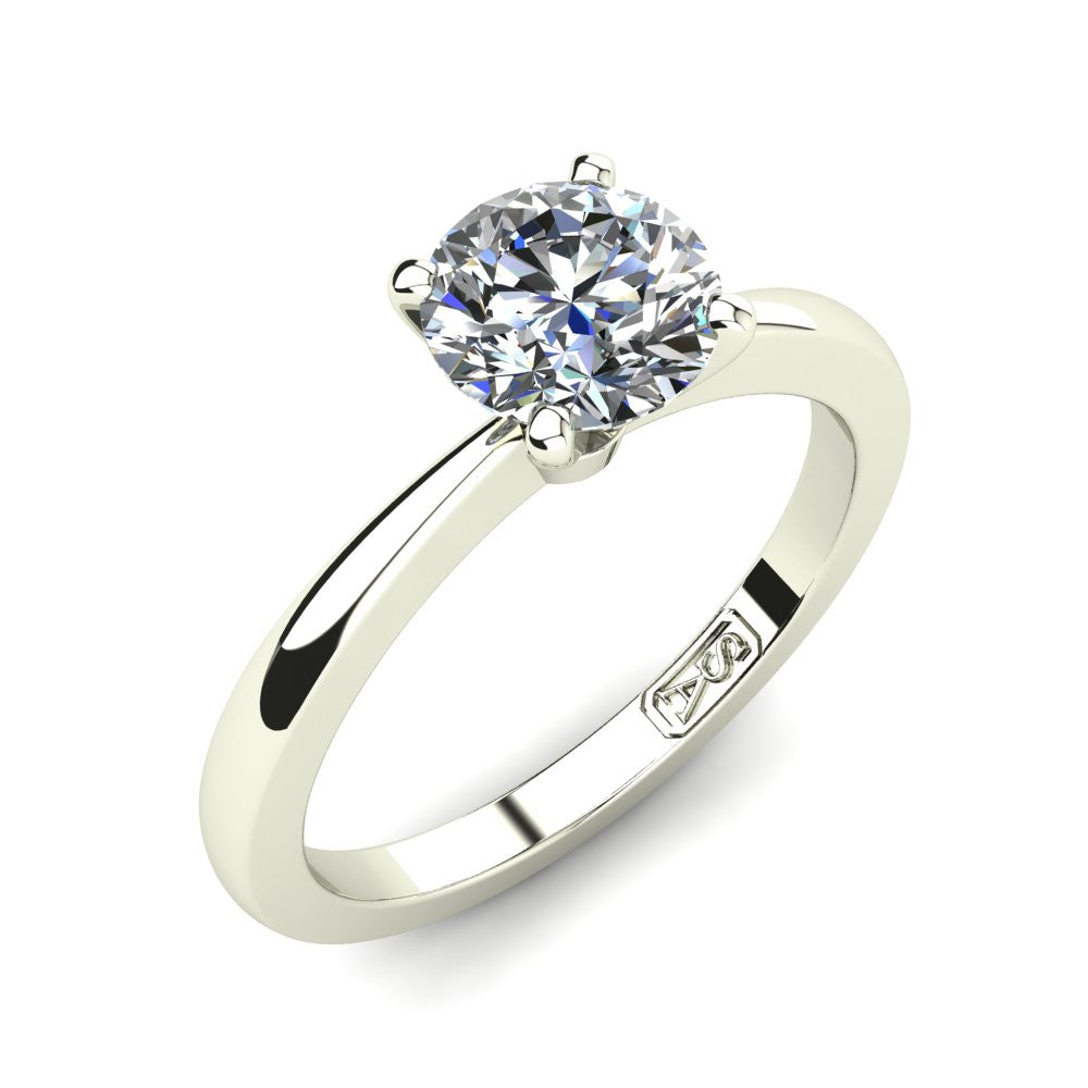 18kt White Gold, Solitaire Setting with Tapered Band
