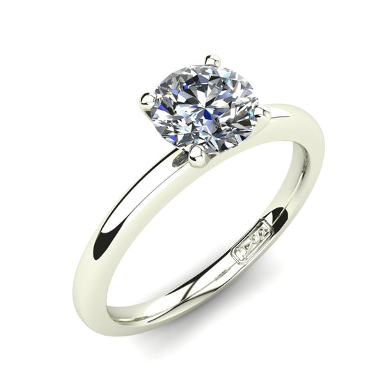 Platinum, Solitaire Setting with Half Round Band