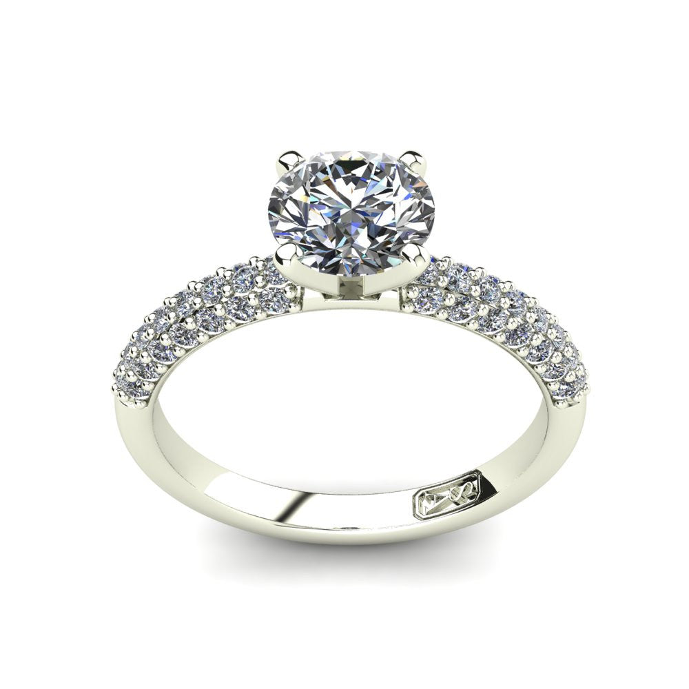 18kt White Gold, Solitaire Setting with 3 Row Pavé set Accent Stones