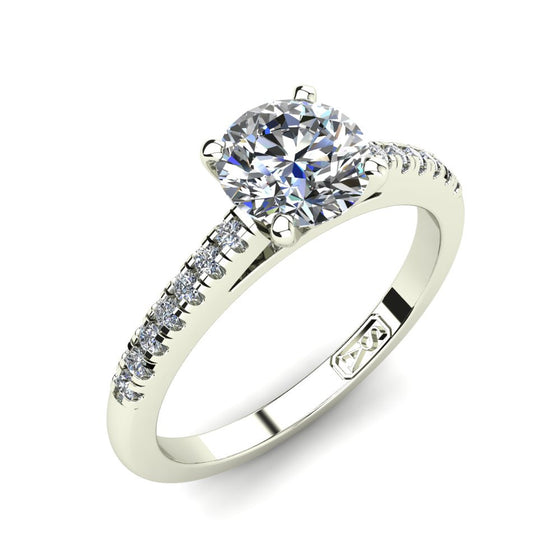 Platinum, Solitaire Setting with Accent Stones
