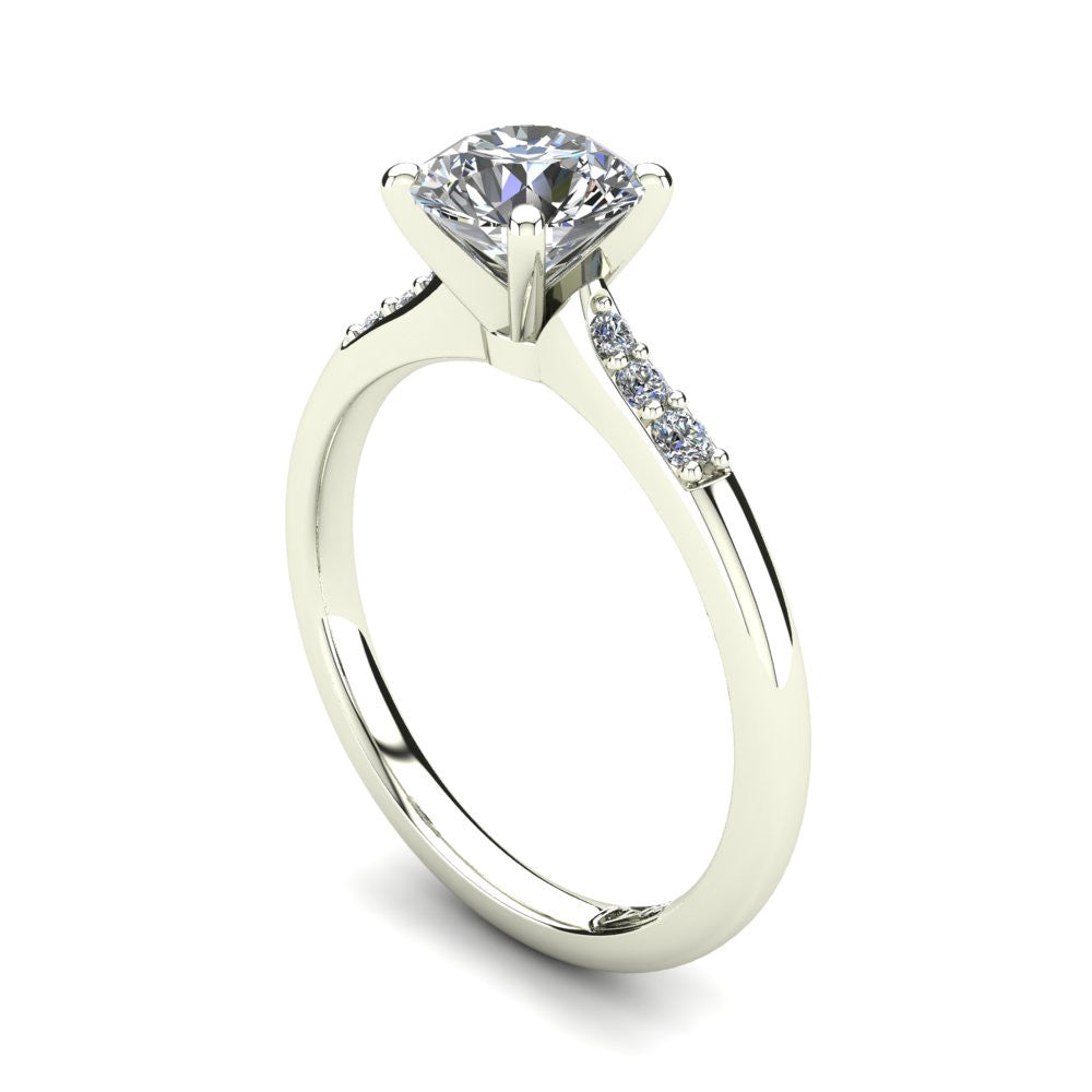 Platinum, Solitaire Setting with Tapered Accent Stones