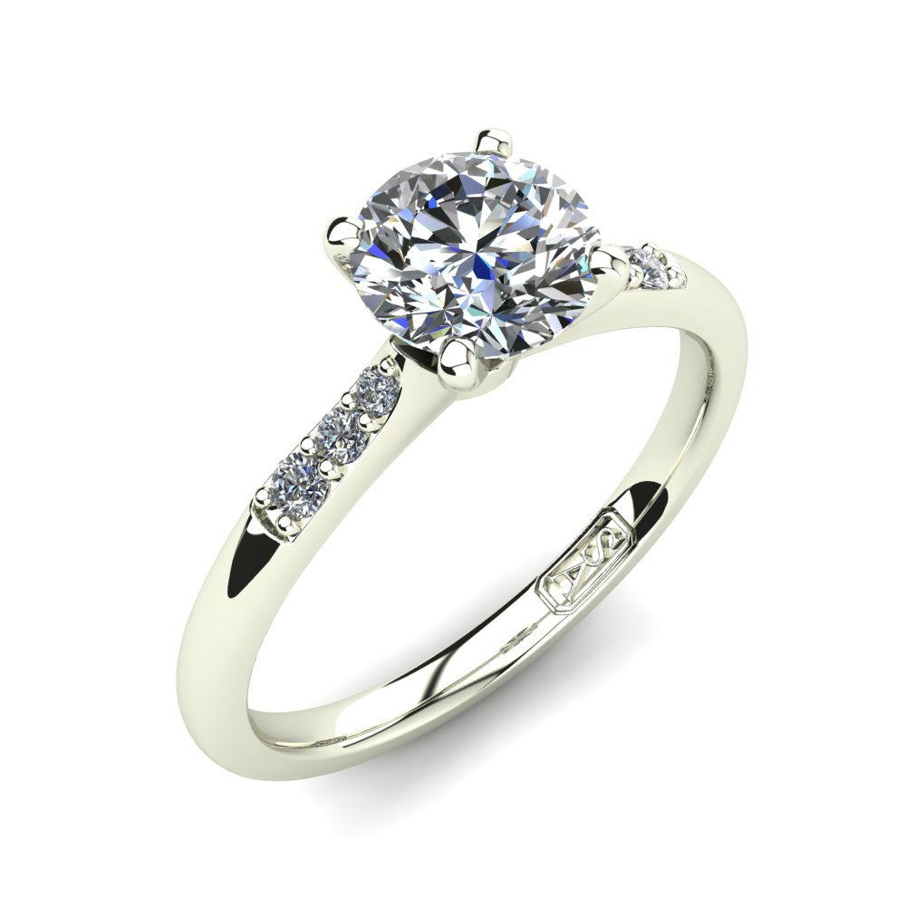 18kt White Gold, Solitaire Setting with Tapered Accent Stones