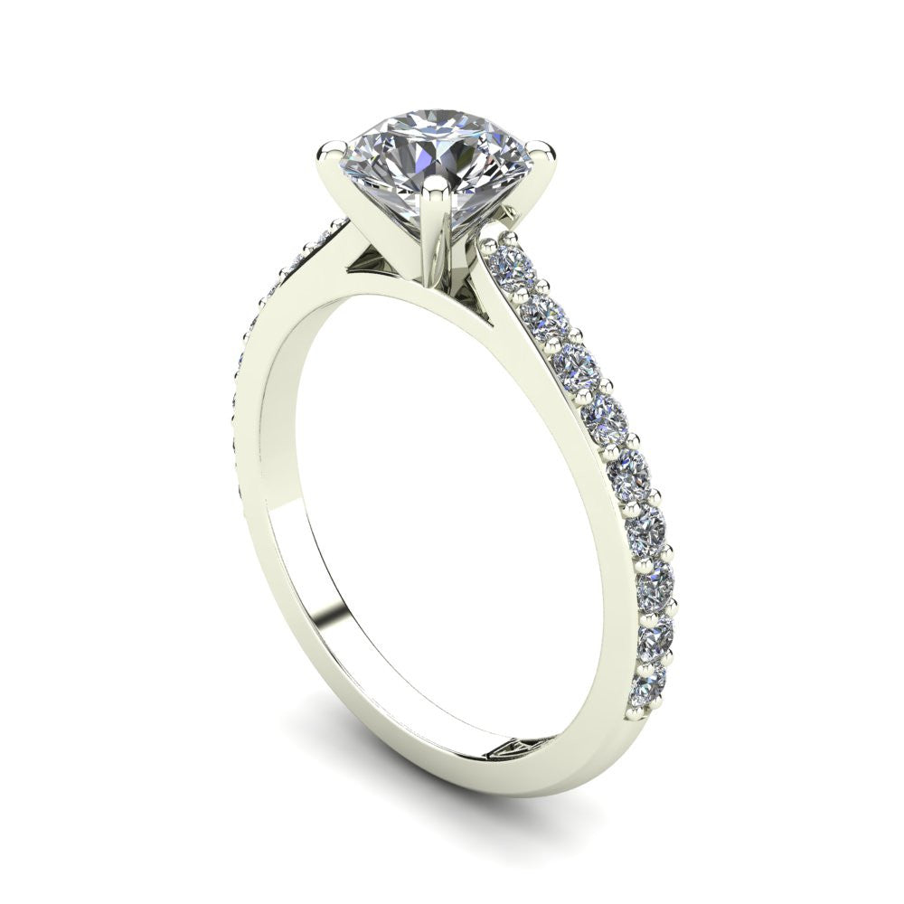 18kt White Gold, Solitaire Setting with Shared Claw set Accent Stones