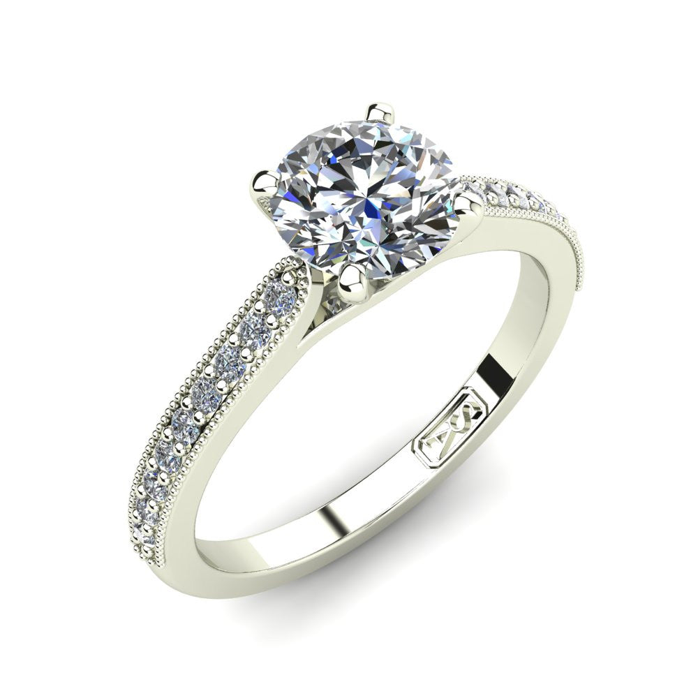 18kt White Gold, Solitaire Setting with Grain set Accent Stones