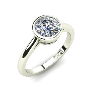 18kt White Gold, Bezel Solitaire Setting with Half Round Band