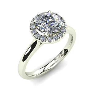 18kt White Gold, Halo Setting with Half Round Band