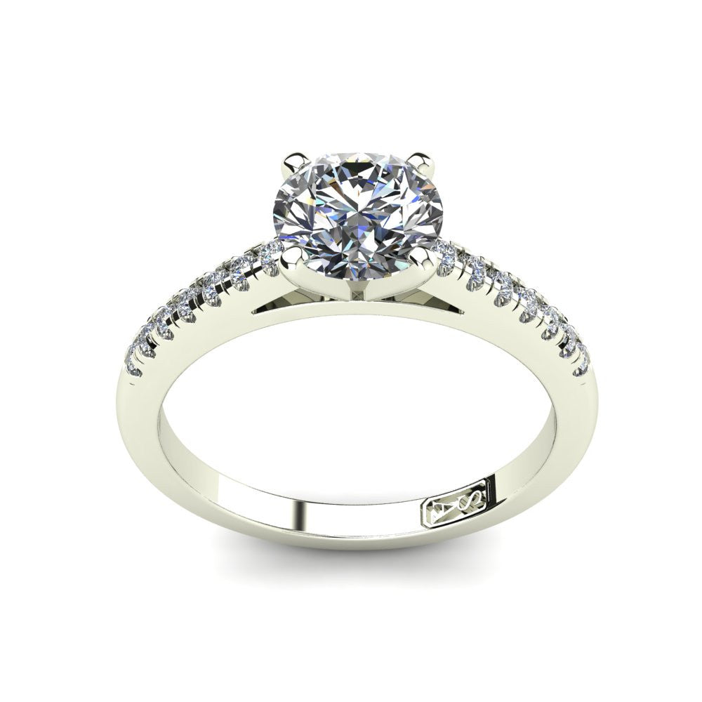 18kt White Gold, Solitaire Setting with Accent Stones