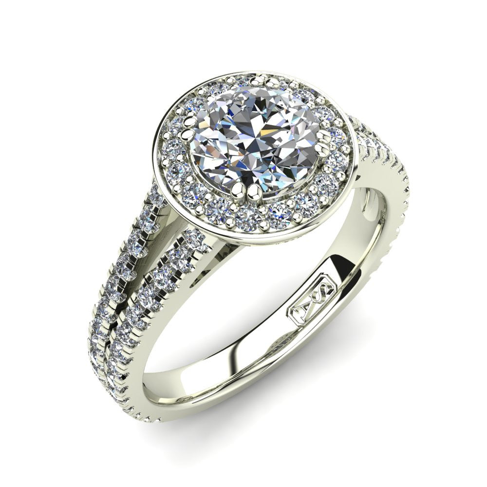 18kt White Gold, Halo Setting with Split Accent Stone Band