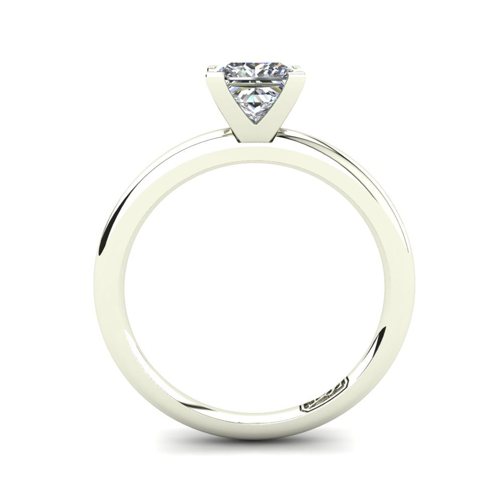 18kt White Gold, Solitaire Setting with Half Round Band