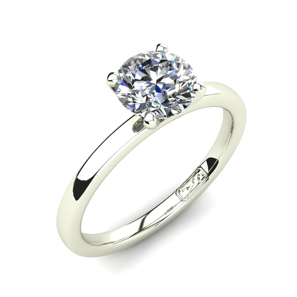 Platinum, Solitaire Setting with Flat Round Band