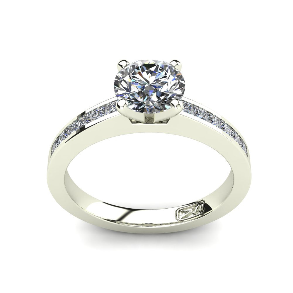 Platinum, Solitaire Setting with Channel set Accent Stones