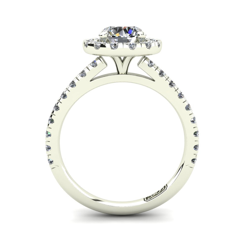 18kt White Gold, Halo Setting with Claw set Accent Stones