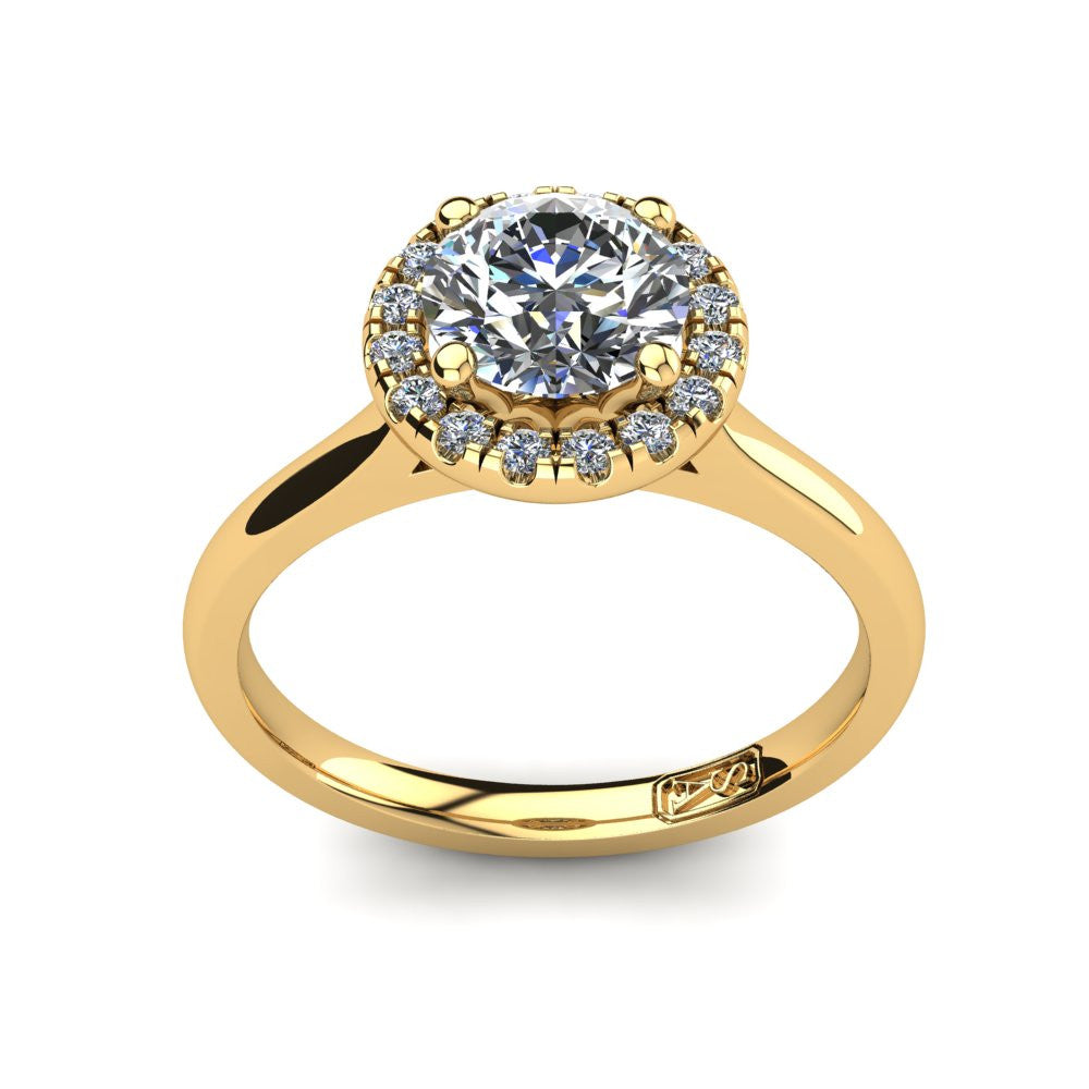 18kt Yellow Gold, Halo Setting with Half Round Band