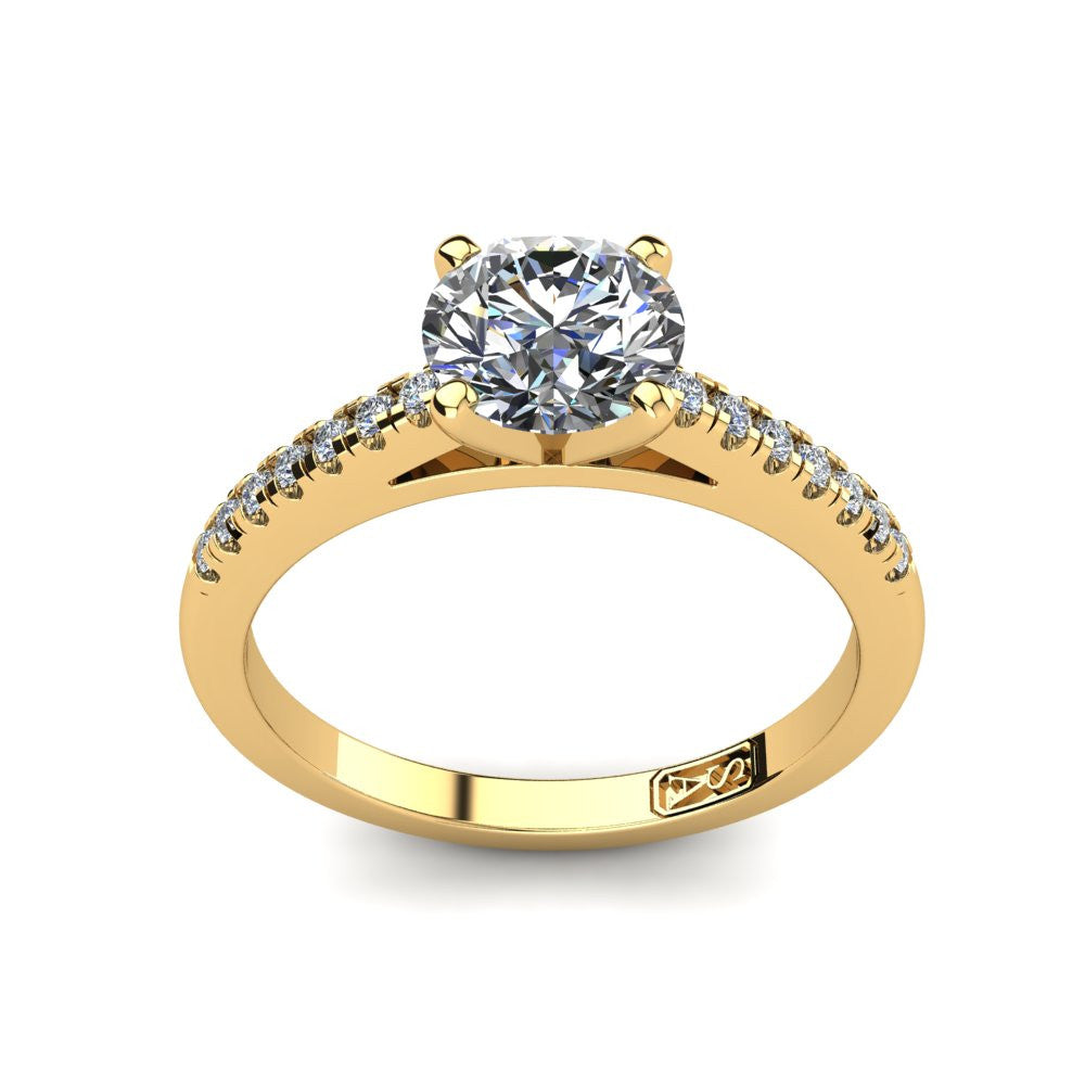 18kt Yellow Gold, Solitaire Setting with Accent Stones