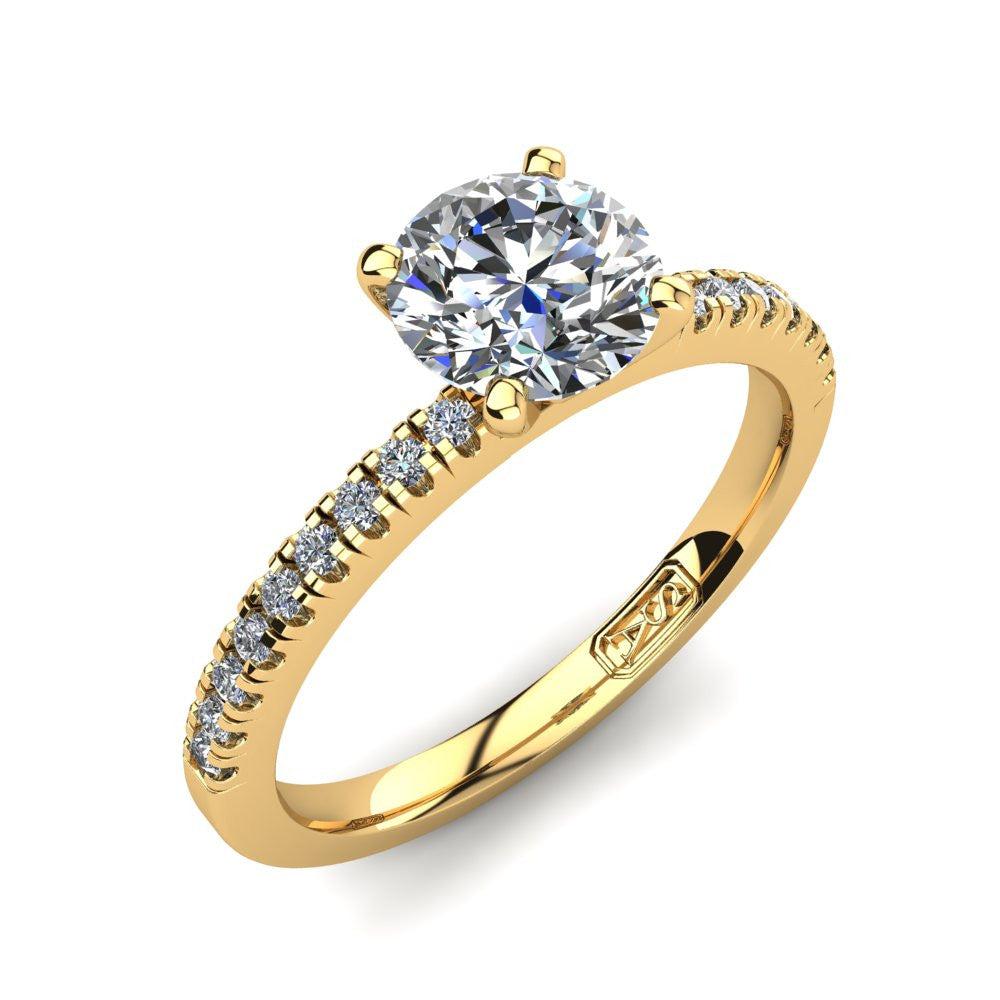 18kt Yellow Gold, Solitaire Setting with Pavé set Accent Stones