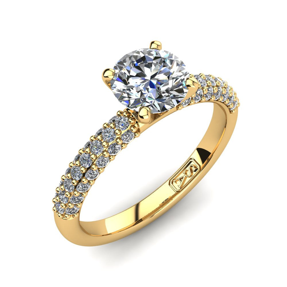 18kt Yellow Gold, Solitaire Setting with 3 Row Pavé set Accent Stones