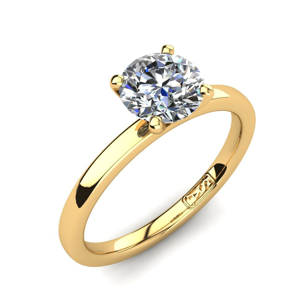 18kt Yellow Gold, Solitaire Setting with Flat Round Band