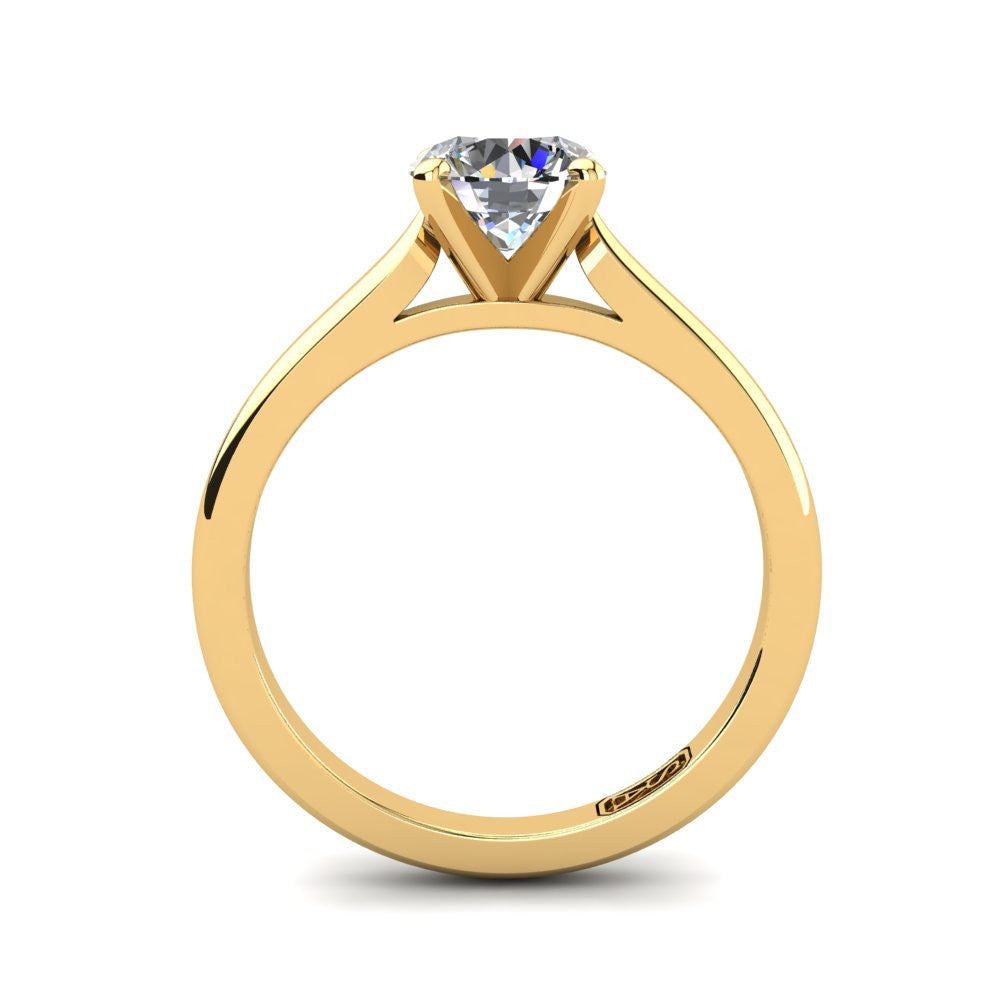 18kt Yellow Gold, Solitaire Setting with Cathedral Band