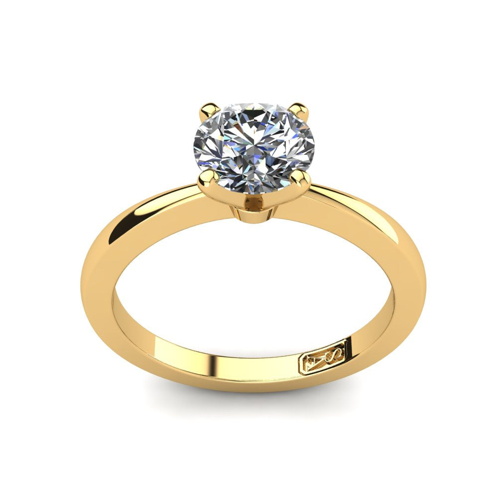 18kt Yellow Gold, Solitaire Setting with Tapered Band