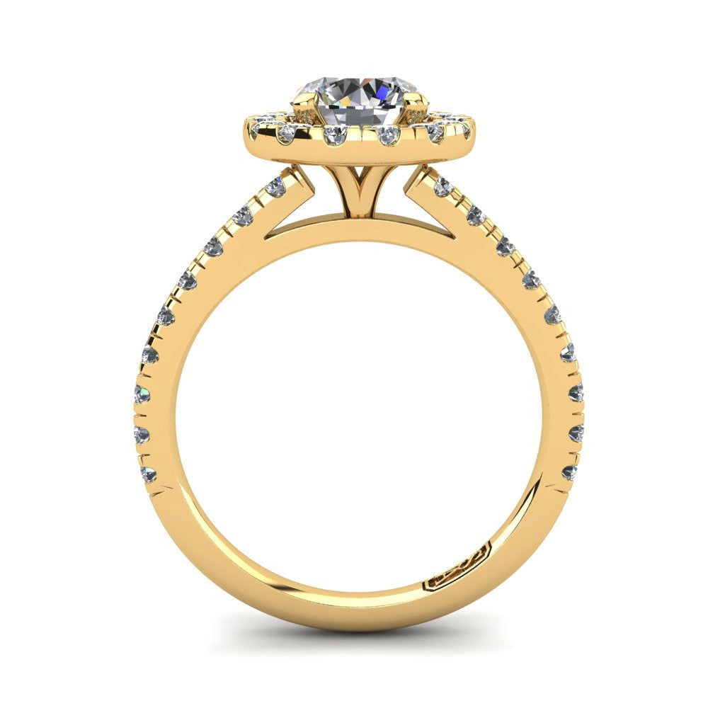 18kt Yellow Gold, Halo Setting with Claw set Accent Stones
